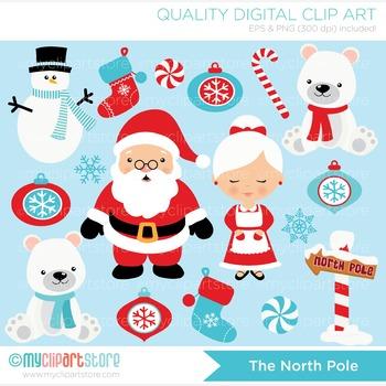 North pole santa clipart banner transparent stock Clipart - Christmas / North Pole / Santa and Mrs Clause banner transparent stock