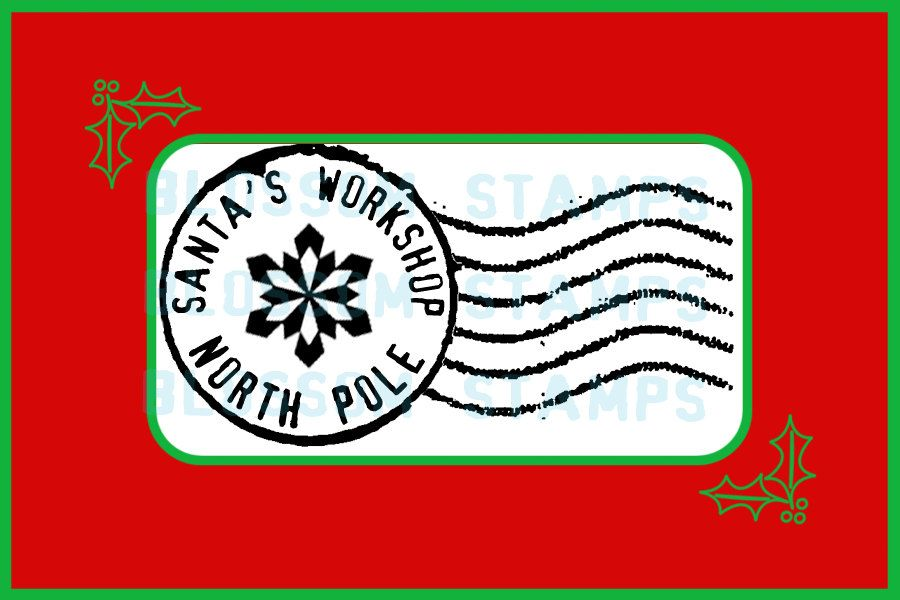 North pole stamp clipart graphic Christmas North Pole Postmark Cancellation Rubber Stamp - Handmade ... graphic
