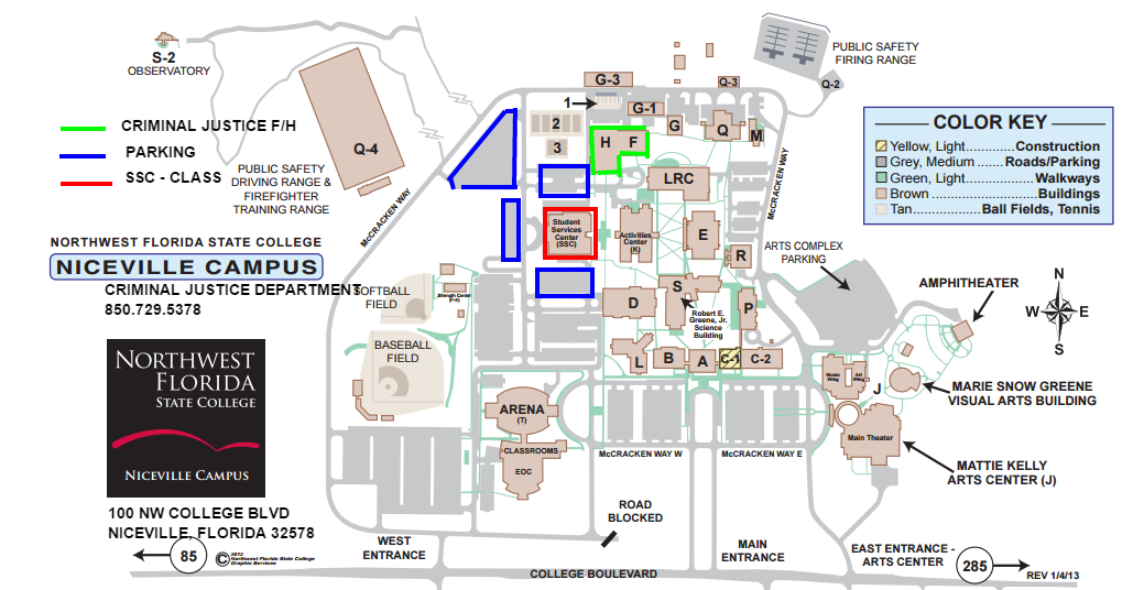 Northwest florida state college clipart free stock Nwfsc Campus Map | Time Zones Map free stock