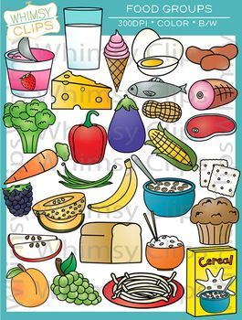 Not healthy fridge food clipart jpg black and white stock Food Groups Clip Art | Piramida Alimentara | Group meals ... jpg black and white stock