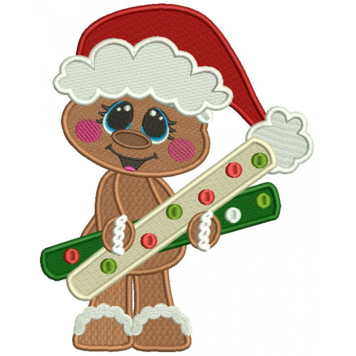 Nothing says christmas like gingerbread clipart svg library Cute Gingerbread Man Holding a Huge Candy Christmas Filled Machine  Embroidery Design Digitized Pattern svg library