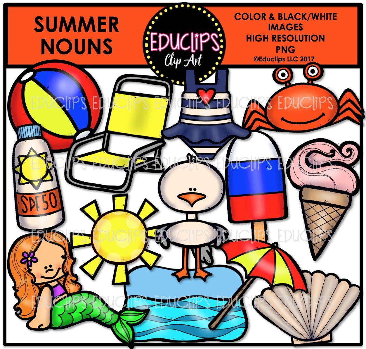 Nouns clipart clip royalty free Summer Nouns Clip Art Bundle (Color and B&W) clip royalty free