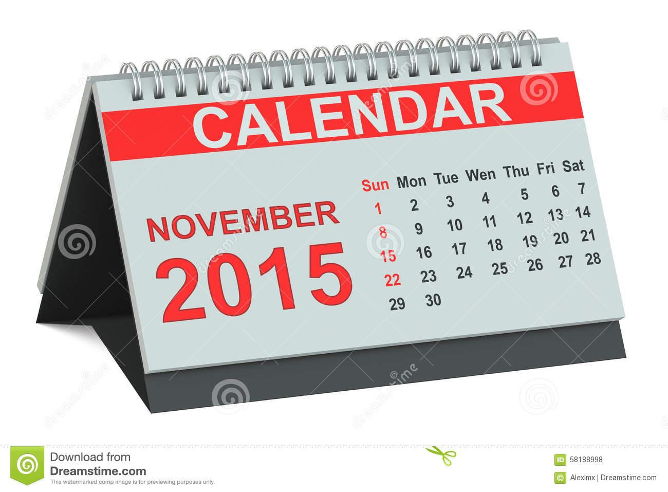 November 2015 calendar clipart jpg free library 2015 Calendar: Month Of November Stock Illustration - Image: 45462247 jpg free library