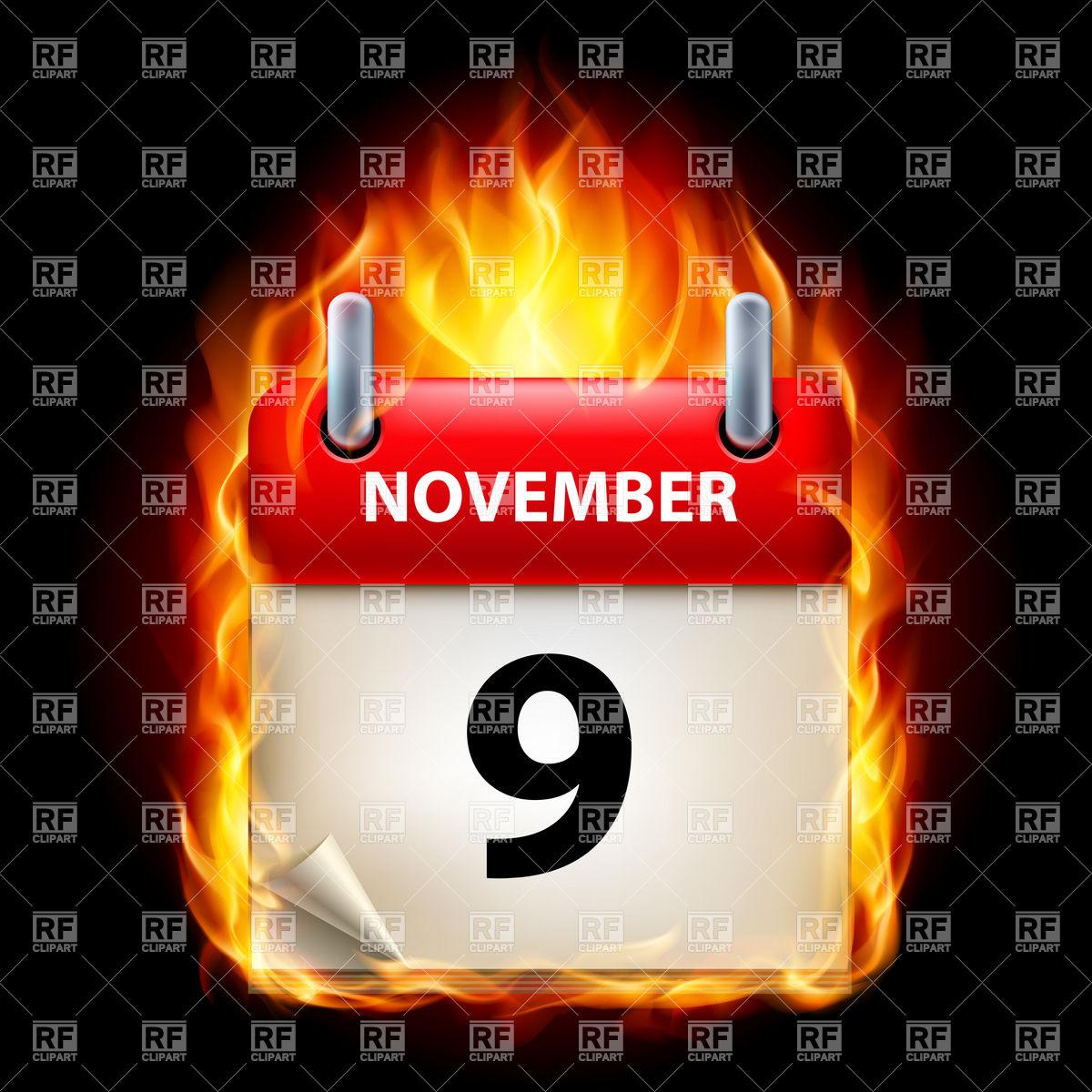 November 9th calendar clipart image royalty free Fiery calendar icon November 9 Vector Image #8975 – RFclipart image royalty free