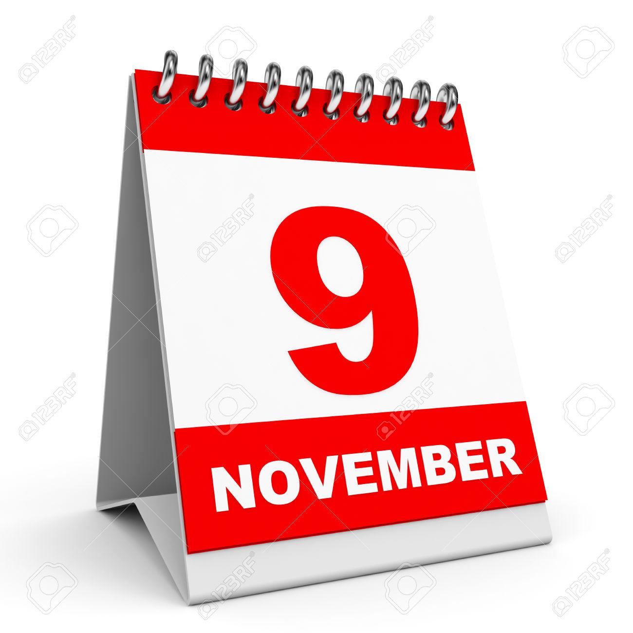 November 9th calendar clipart clip free library Calendar On White Background. 9 November. 3D Illustration. Stock ... clip free library