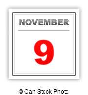 November 9th calendar clipart