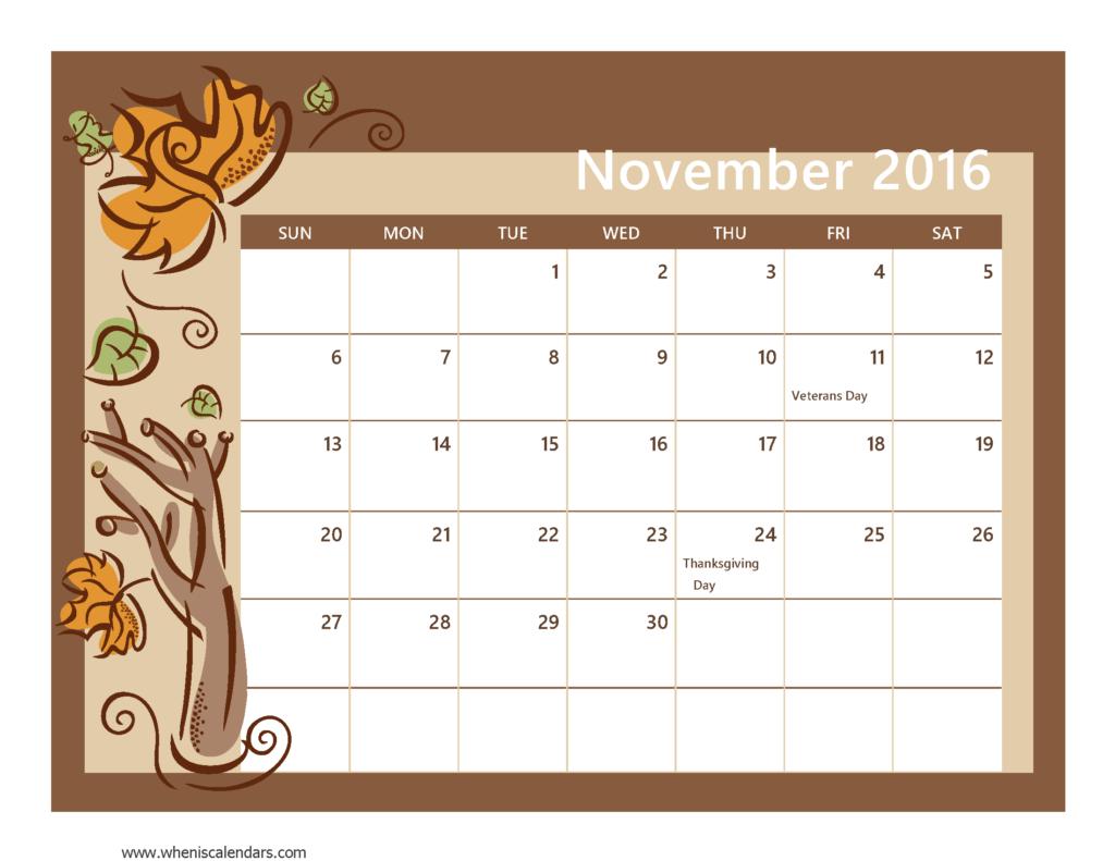 November calendar 2016 clipart image free stock 2016 November Calendar With Holidays image free stock