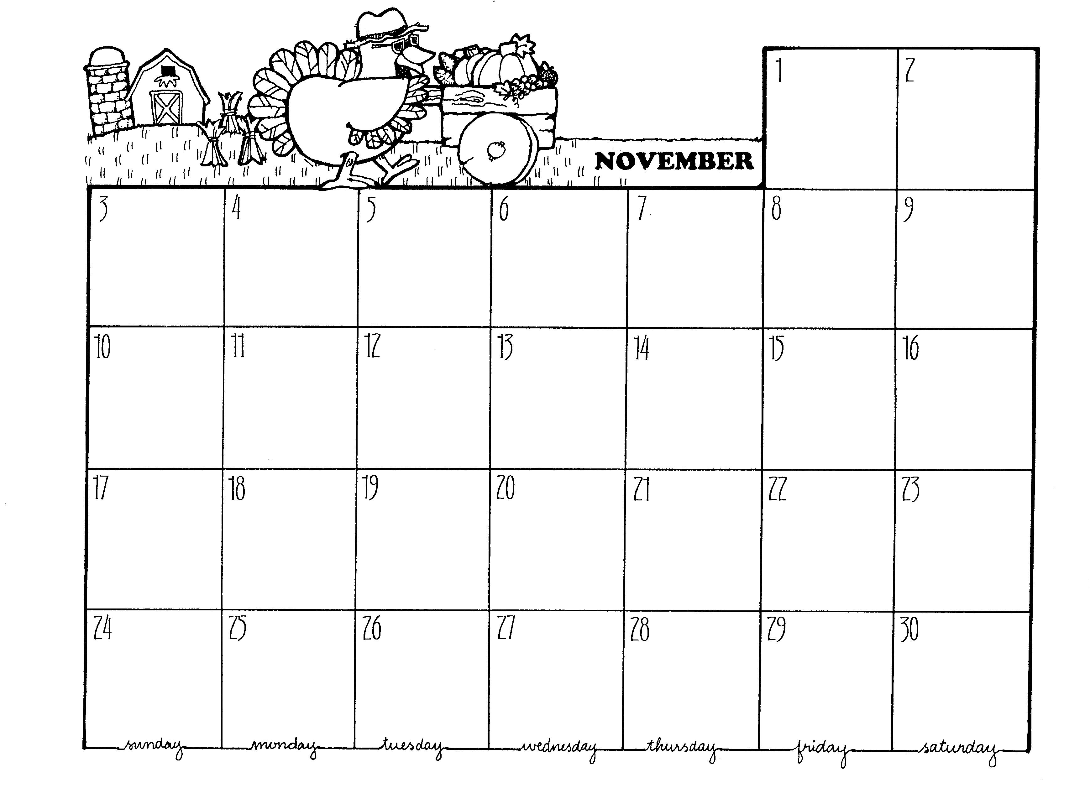 November calendar 2016 clipart library November calendar black and white clipart - ClipartFest library