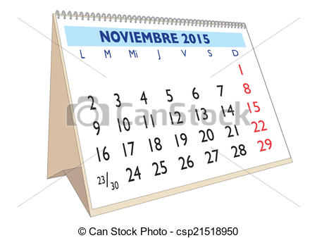 November calendar clipart 2015 graphic library stock Clipart Vector of Noviembre 2015 - November month in a year 2015 ... graphic library stock