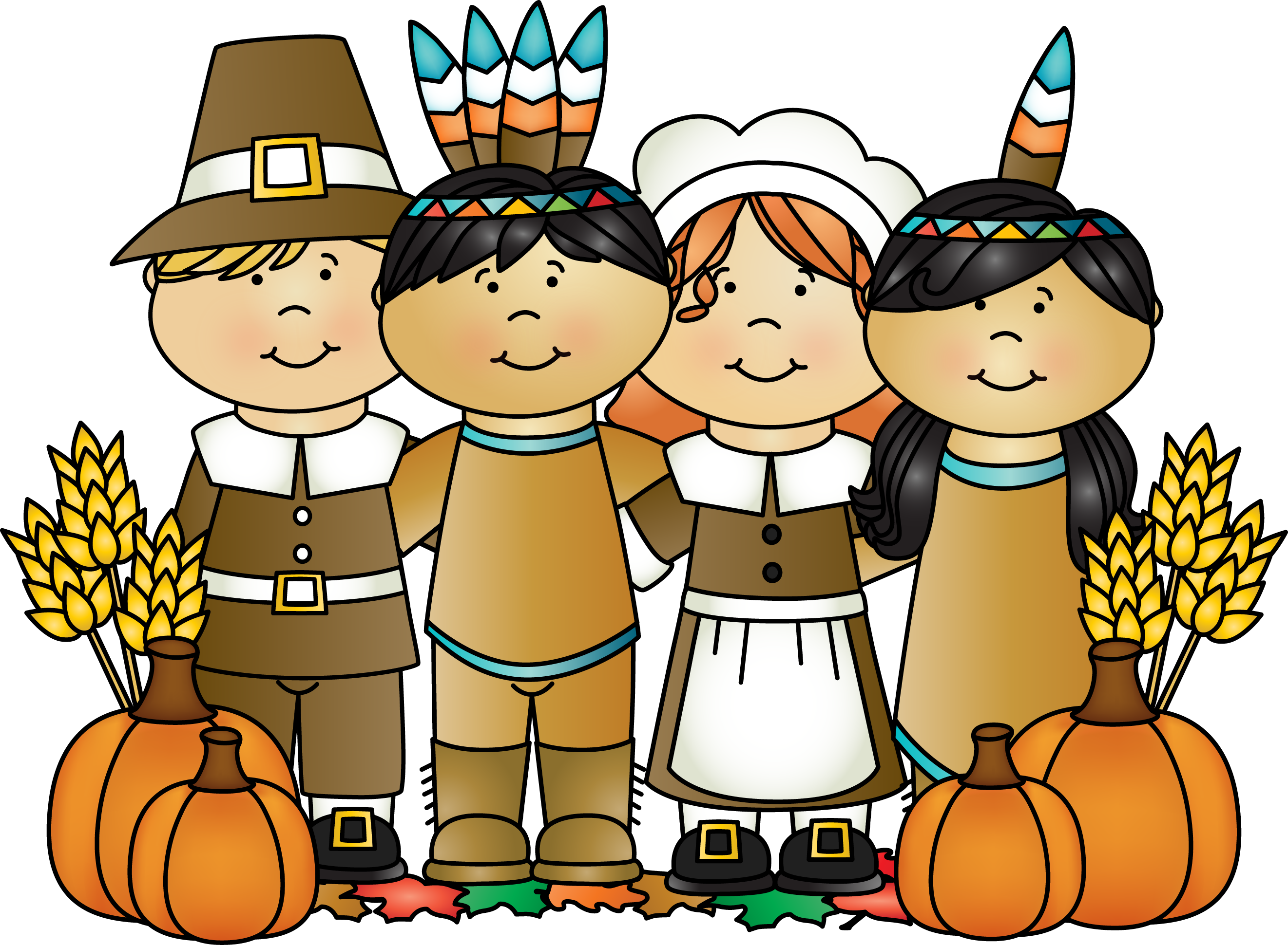 Round thanksgiving clipart freeuse library Month of November pilgrims and Indians. | Month Clip Art ... freeuse library