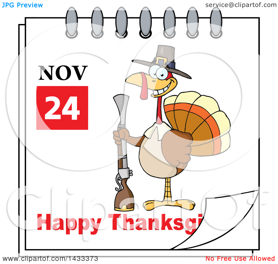November calendar clipart turkey clip art black and white stock Clipart of a November 24 Happy Thanksgiving Calendar Page with a ... clip art black and white stock