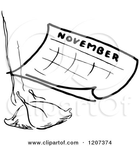 November calendar clipart turkey clip transparent download Clipart of a Vintage Black and White November Calendar with a ... clip transparent download