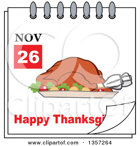 November calendar clipart turkey clip black and white stock Clipart of a Calendar Page with a Turkey Bird and Happy ... clip black and white stock