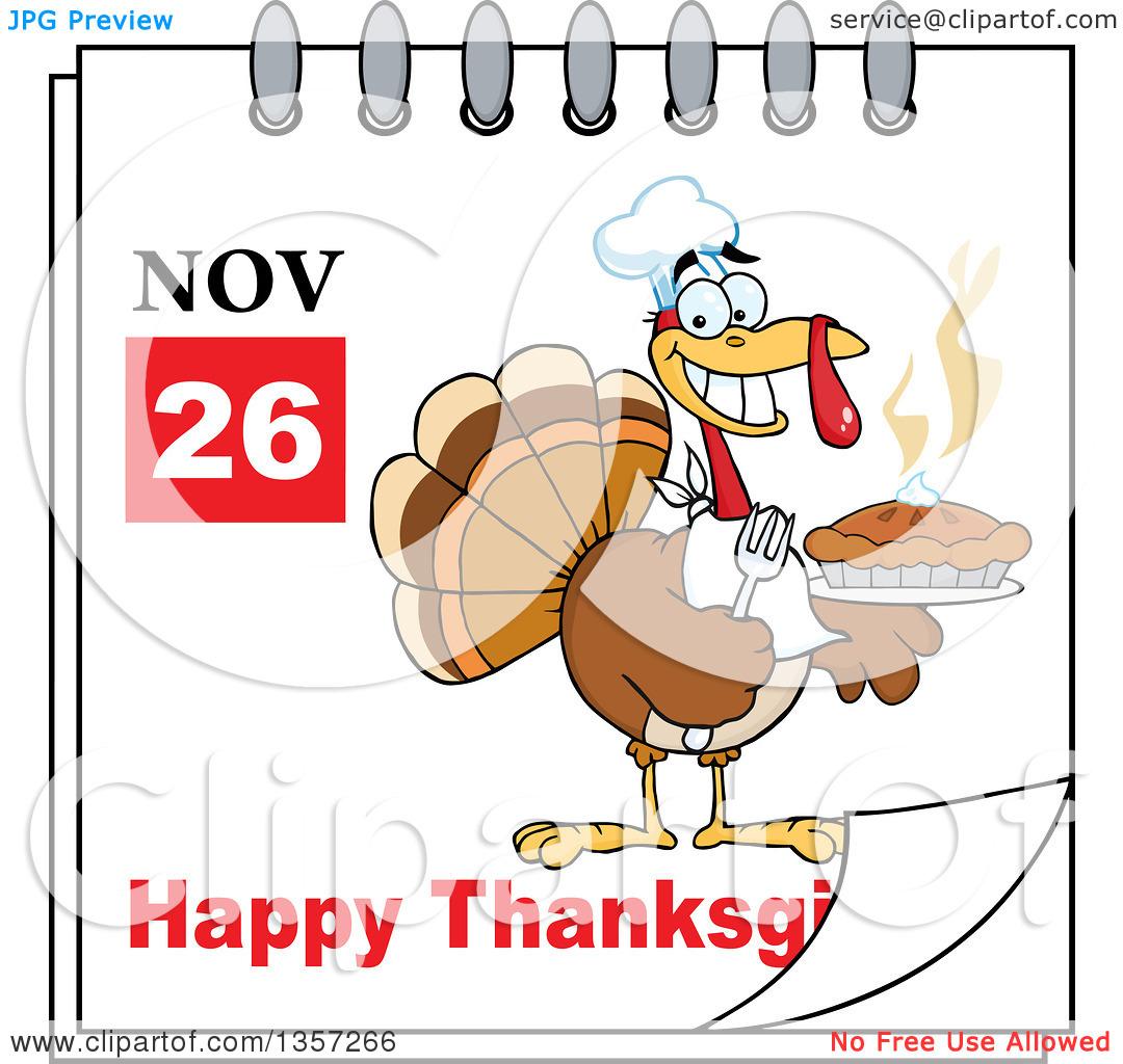 November calendar clipart turkey jpg black and white stock Clipart of a November 26th Happy Thanksgiving Day Calendar with a ... jpg black and white stock