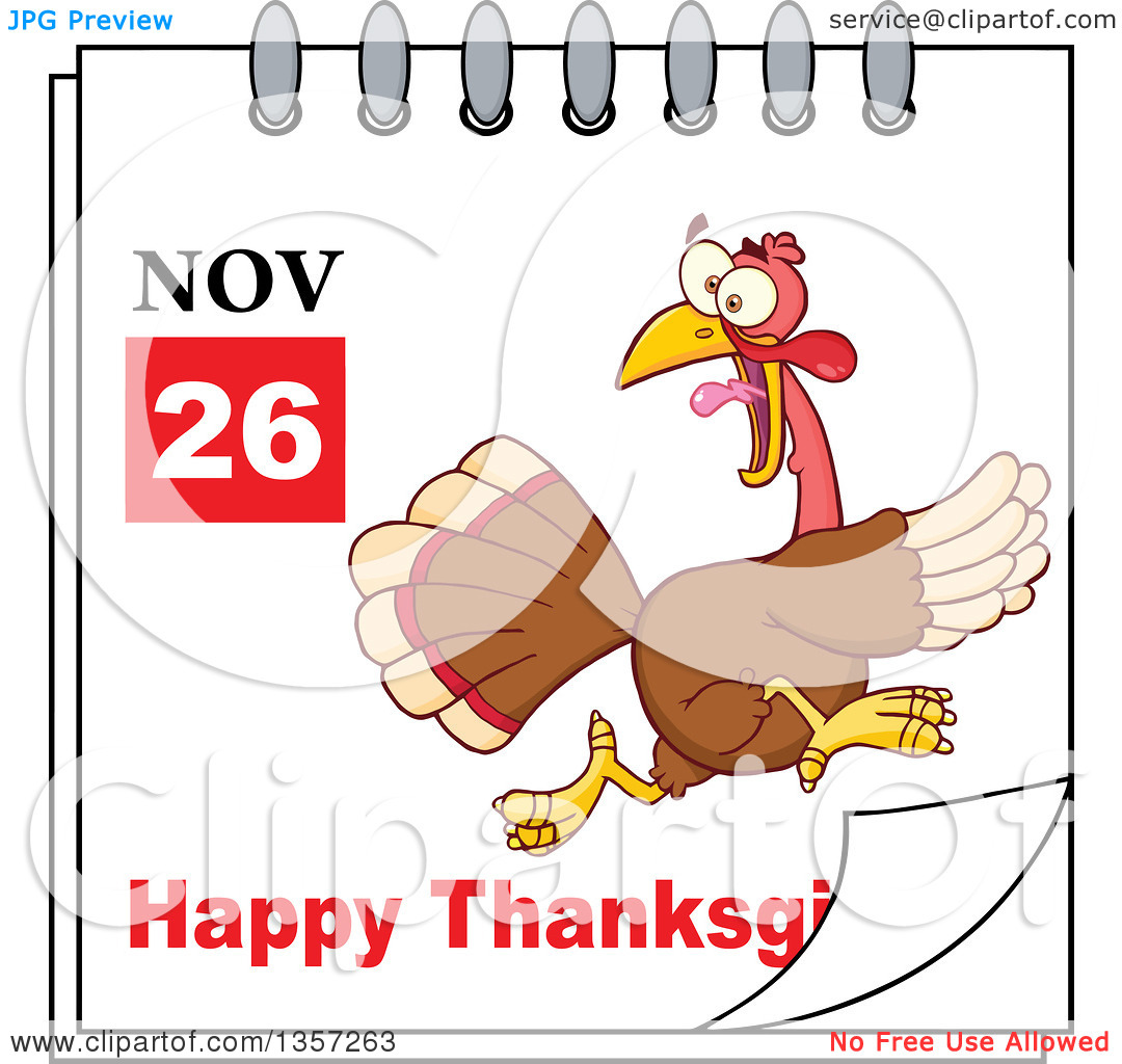 November calendar clipart turkey image black and white library Clipart of a November 26th Happy Thanksgiving Day Calendar with a ... image black and white library