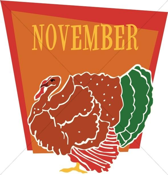 November calendar clipart turkey jpg library download Fat Turkey in November | Christian Calendar Clipart jpg library download