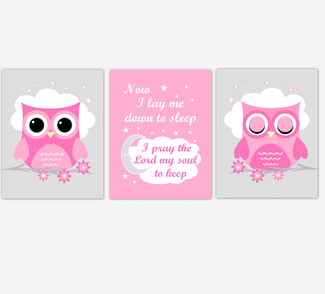 Now i lay me down to sleep clipart png royalty free library Owl Baby Girl Nursery Wall Art Prints Pink Gray Birds Baby Nursery Decor  Now I Lay Me Down To Sleep png royalty free library