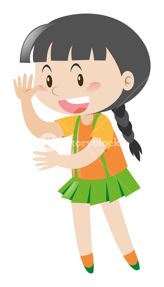 Nsl clipart graphic royalty free library Little girl waving hello illustration Royalty-Free Stock ... graphic royalty free library