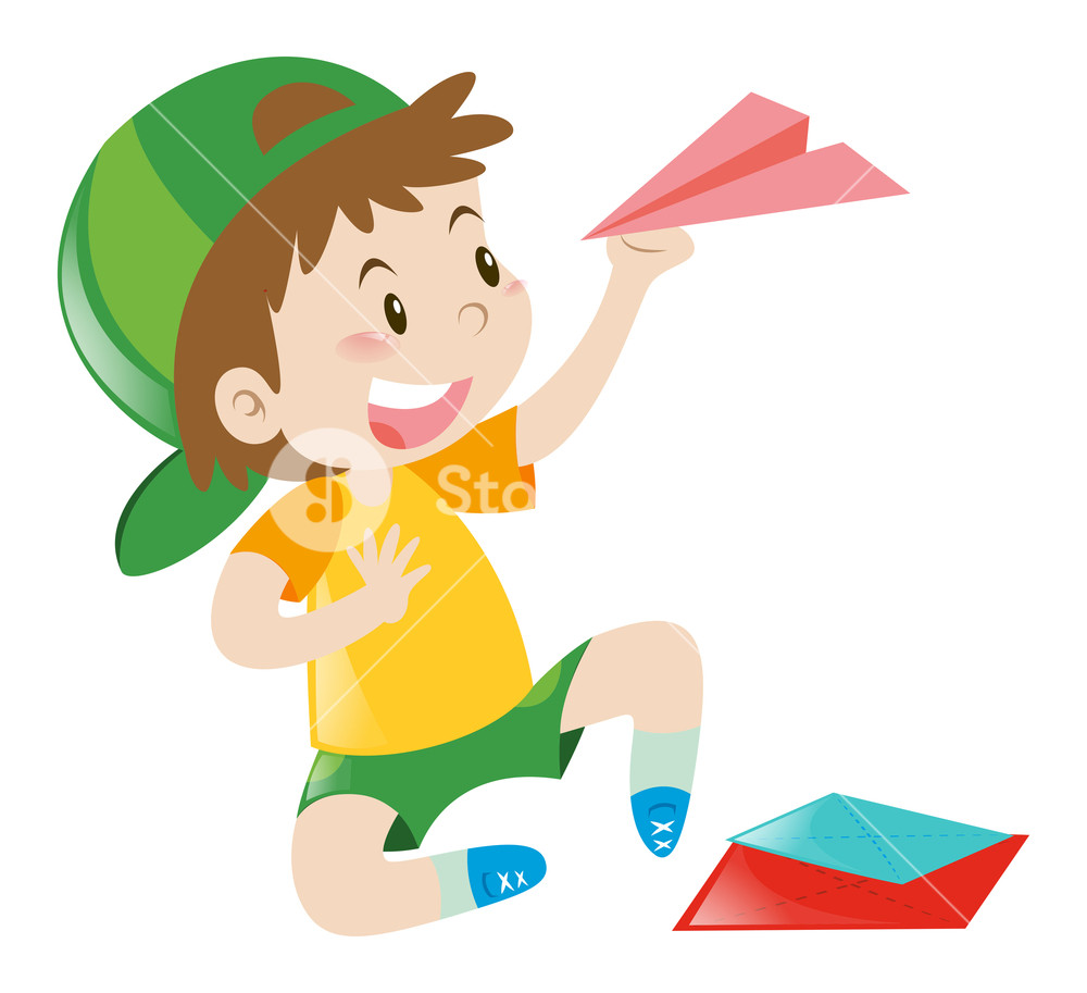 Nsl clipart royalty free library Boy holding paper plane illustration Royalty-Free Stock ... royalty free library