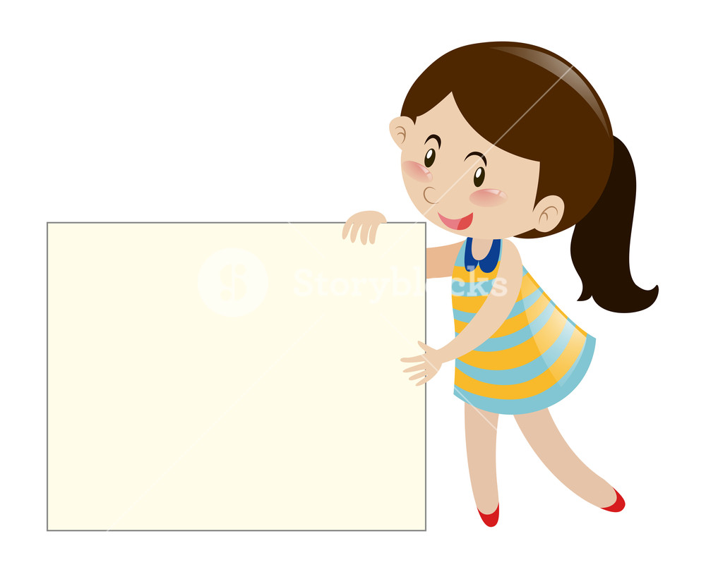 Nsl clipart picture library library Brown hair girl holding blank sign illustration Royalty-Free ... picture library library