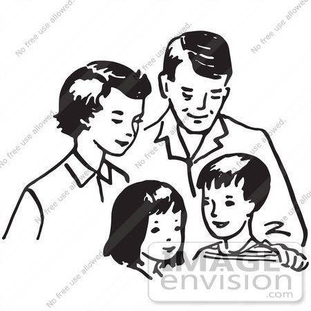 Nuclear family clipart black and white two girls black and white Pin by Daneo Draino on The Dog Who Could Fly | Family ... black and white