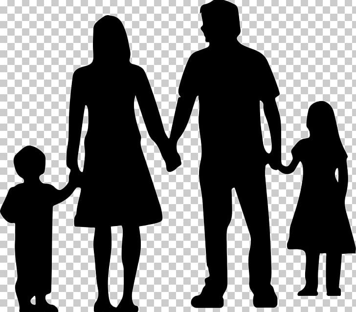 Nuclear family clipart black and white two girls vector freeuse download Nuclear Family Silhouette PNG, Clipart, Black And White ... vector freeuse download