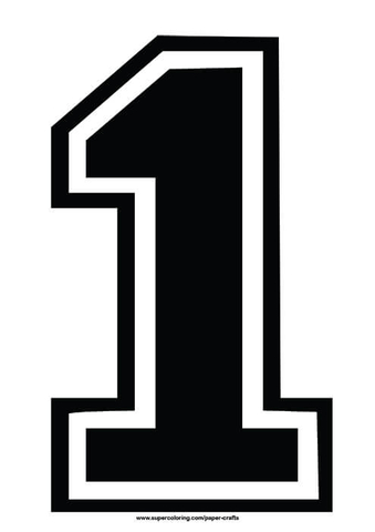 Number 1 clipart black jpg black and white library Black Football Shirt Number 1 Template   Free Printable ... jpg black and white library