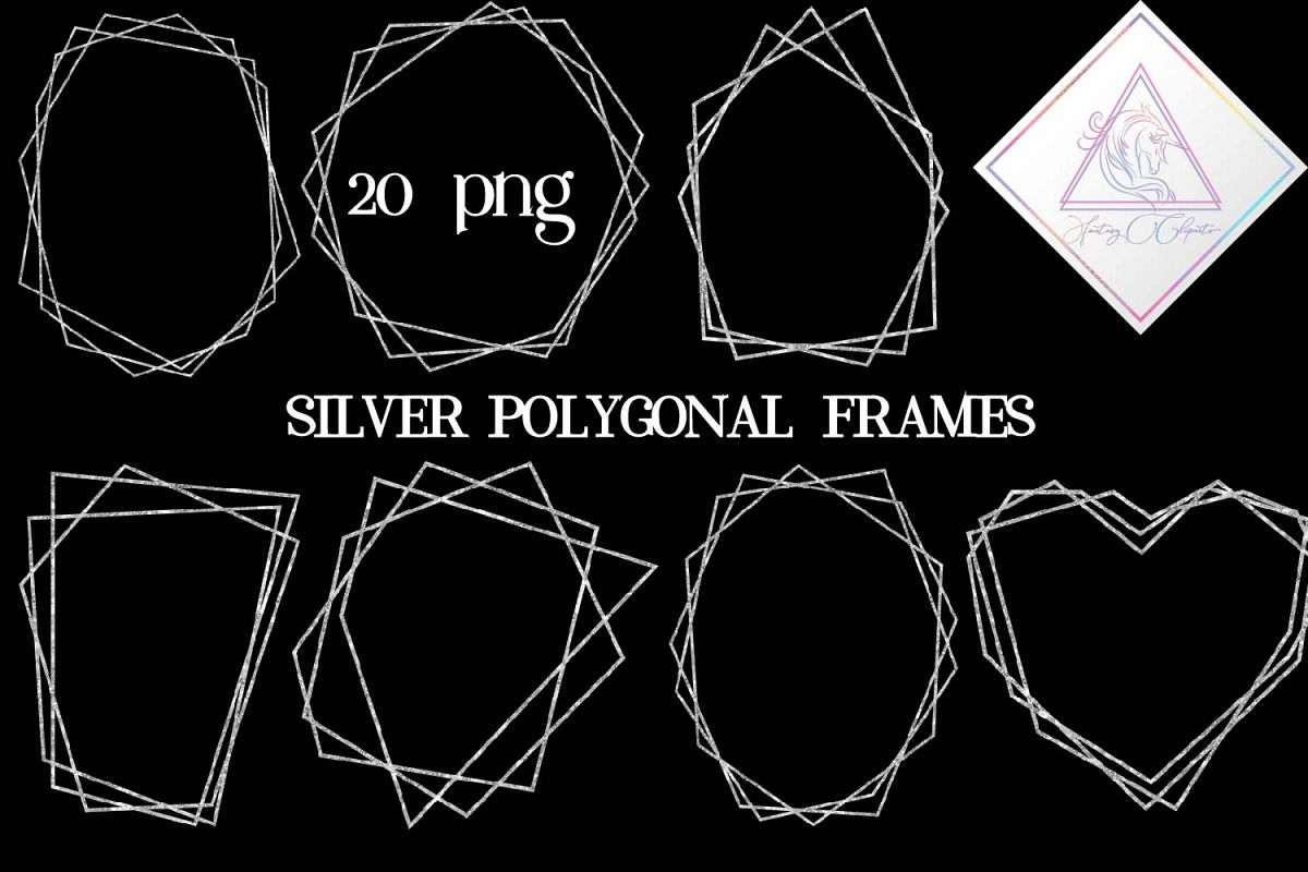 Number 1 glitter silver clipart banner black and white download Silver Glitter Polygonal Frames Clipart banner black and white download