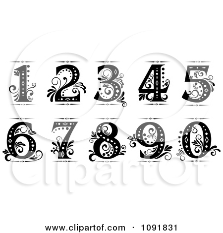Number 1 white clipart vector free stock Clipart Brown And Turquoise Vintage Numbers - Royalty Free Vector ... vector free stock