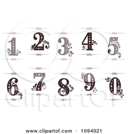 Number 1 white clipart picture library library Clipart Brown And Turquoise Vintage Numbers - Royalty Free Vector ... picture library library