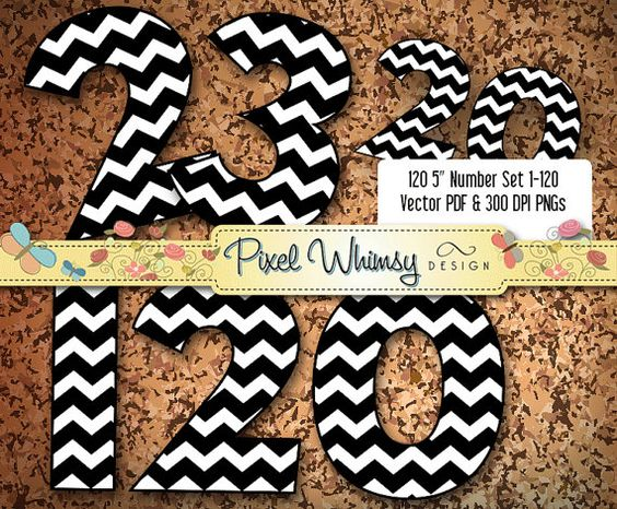 Number 1 white clipart black and white stock Black & White Chevron Numbers • 1-120 Clip Art • 120pp PDF 120 ... black and white stock