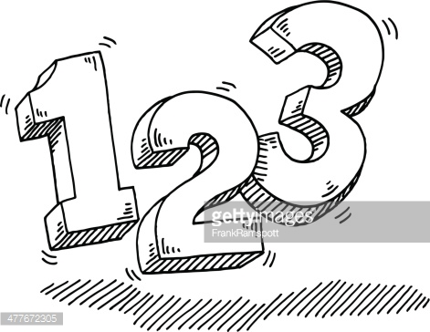 Number 1 white clipart png royalty free stock Number 123 Counting Drawing Vector Art | Getty Images png royalty free stock