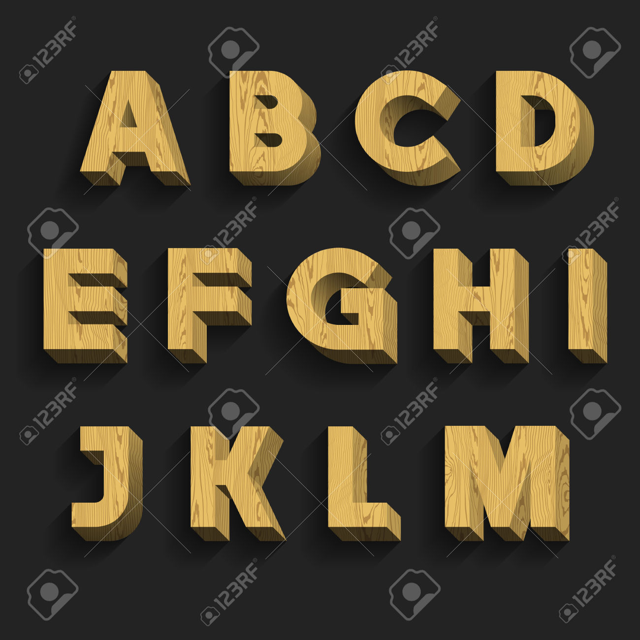 Number 1 wooden letter clipart image royalty free Wood Alphabet Vector Font. Part 1 Of 3. Letters A - M. 3D Wooden ... image royalty free