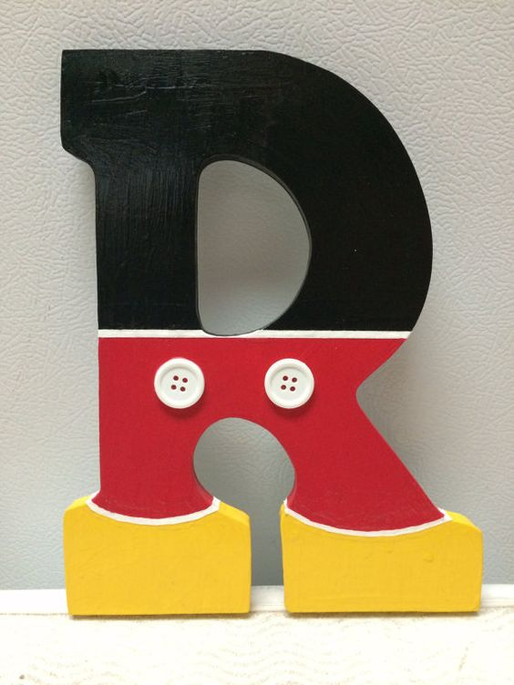 Number 1 wooden letter clipart banner black and white library Mickey Mouse Hand Painted Wooden Letter by CrafteeThings on Etsy ... banner black and white library