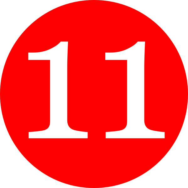 Number 11 clipart svg library stock Red, Rounded,with Number 11 Clip Art at Clker.com - vector ... svg library stock