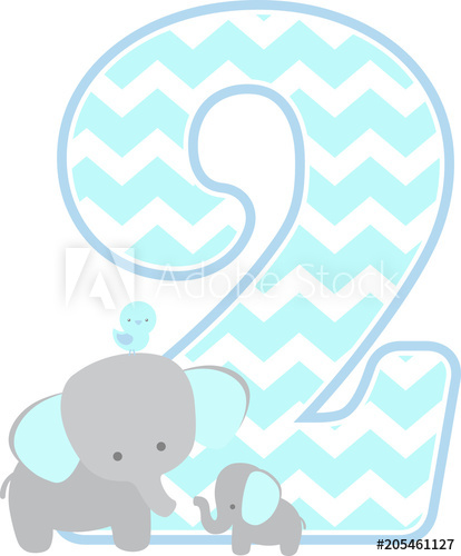 Number 2 birthday clipart for a boy banner freeuse stock number 2 with cute elephant and little baby elephant ... banner freeuse stock