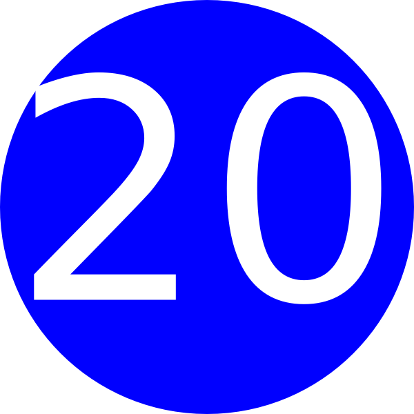 Number 20 clipart picture black and white Number 20 Blue Background Clip Art at Clker.com - vector clip art ... picture black and white