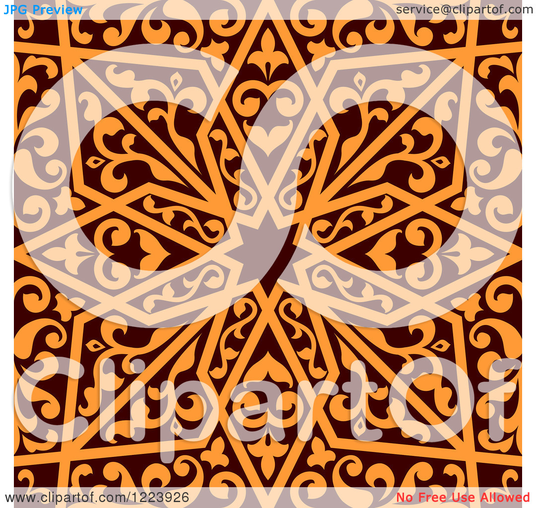 Number 3 design clipart arabic picture freeuse stock Clipart of a Seamless Brown and Orange Arabic or Islamic Design 3 ... picture freeuse stock