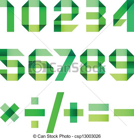 Number 3 design clipart arabic clipart royalty free Vector Illustration of Spectral letters folded of paper green ... clipart royalty free