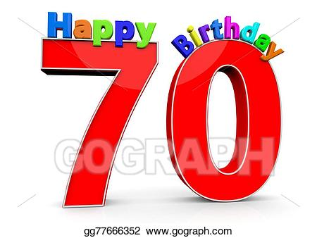 Number 70 clipart vector Stock Illustration - The big red number 70 with happy ... vector