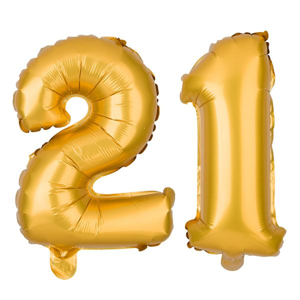 Number balloons clipart image royalty free download 21 Number Balloons - 40 Inch Gold image royalty free download