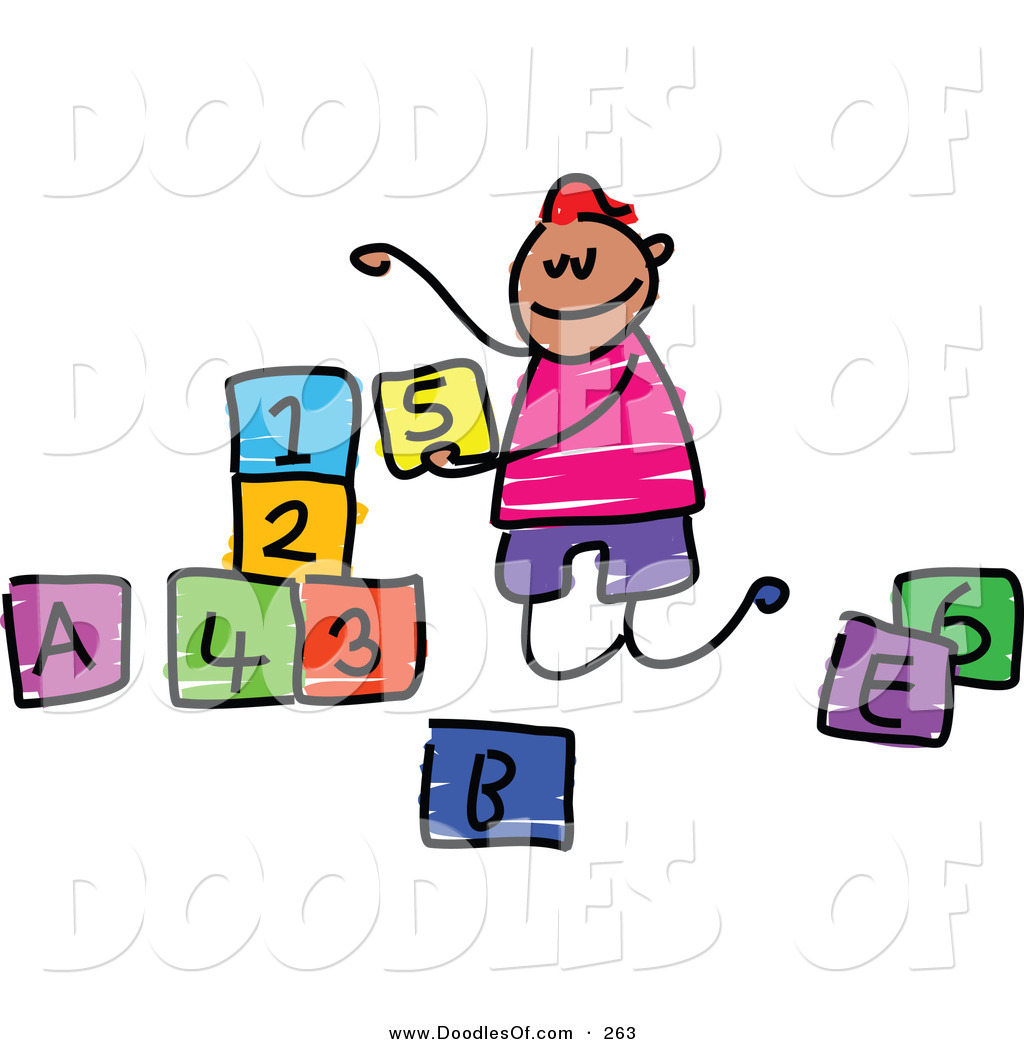 Number block clipart jpg library library Vector Clipart of a Childs Sketch of a Happy Boy Playing with ... jpg library library