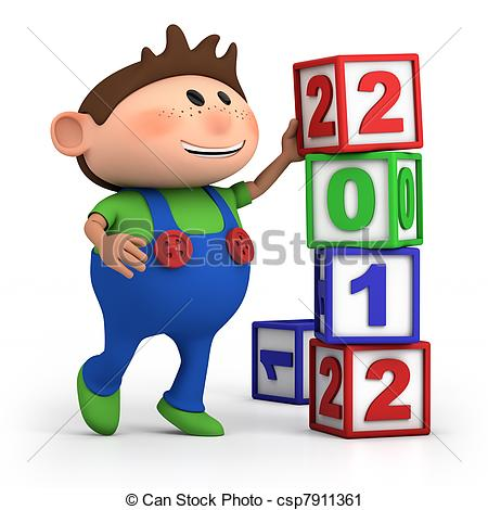 Number block clipart image freeuse library Clipart of boy stacking 2012 number blocks - cute cartoon boy ... image freeuse library