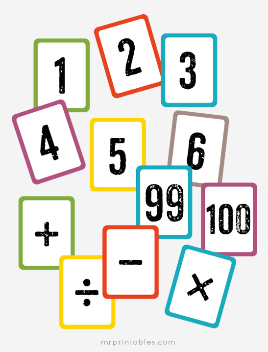 Number cards clipart picture freeuse library Free Printable Math Flash Cards - Mr Printables picture freeuse library