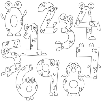 Number clipart black and white clipart freeuse stock Monster Numbers Clipart clipart freeuse stock