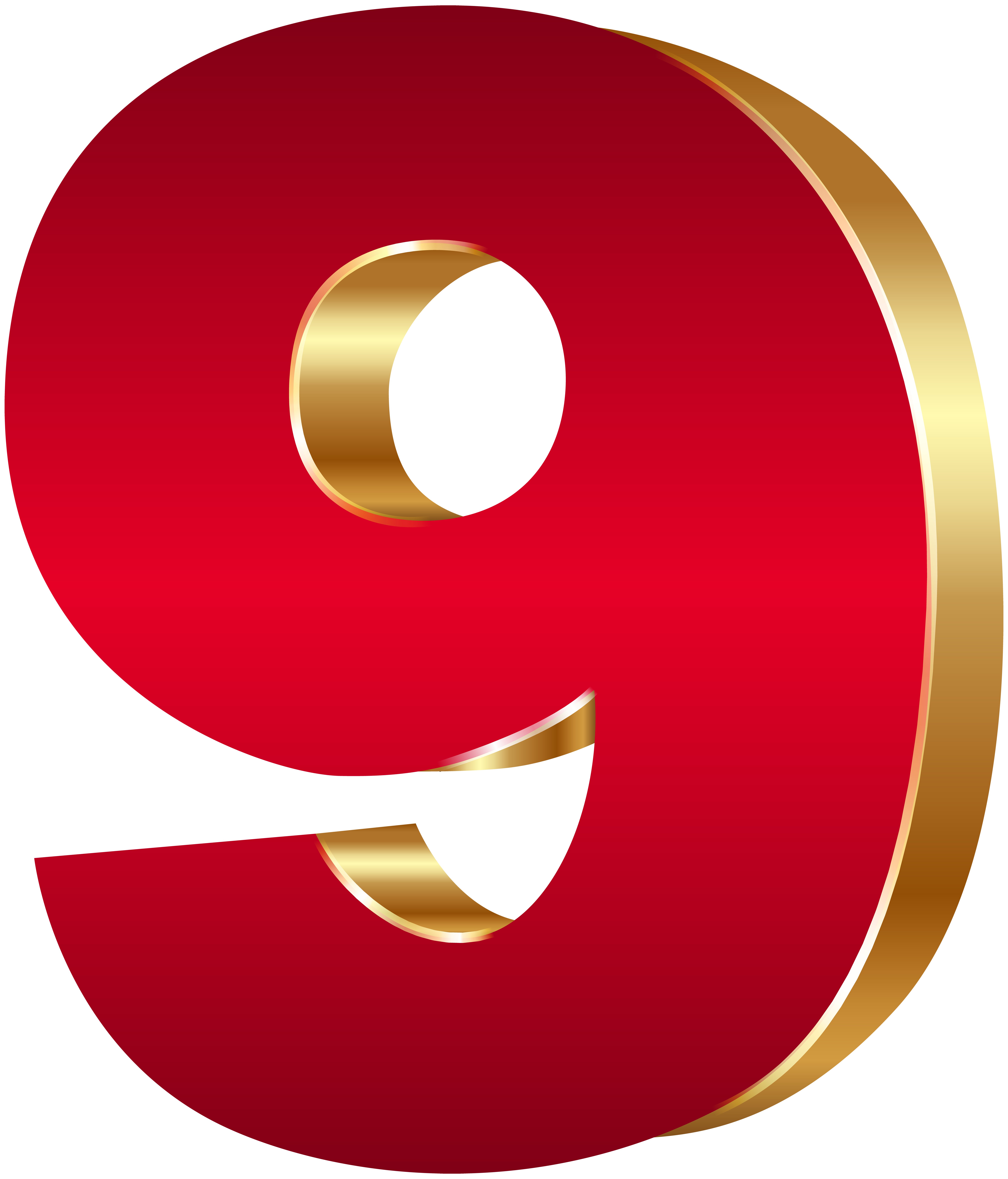 Number nine clipart banner freeuse library 3D Number Nine Red Gold PNG Clip Art Image | Gallery ... banner freeuse library