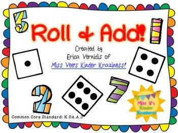 Number sentence clipart image free Roll & Add | math in kindergarten land | Envision math ... image free