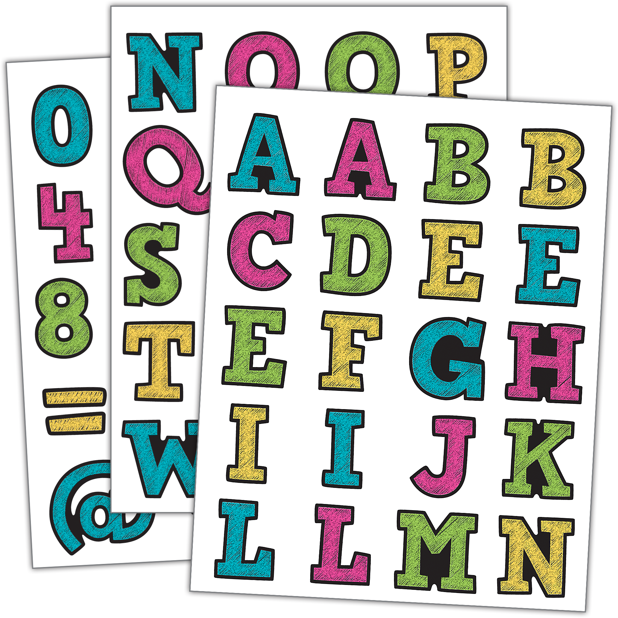 Numbers clipart 1 20 png library Chalkboard Brights Alphabet Stickers | Alphabet stickers png library