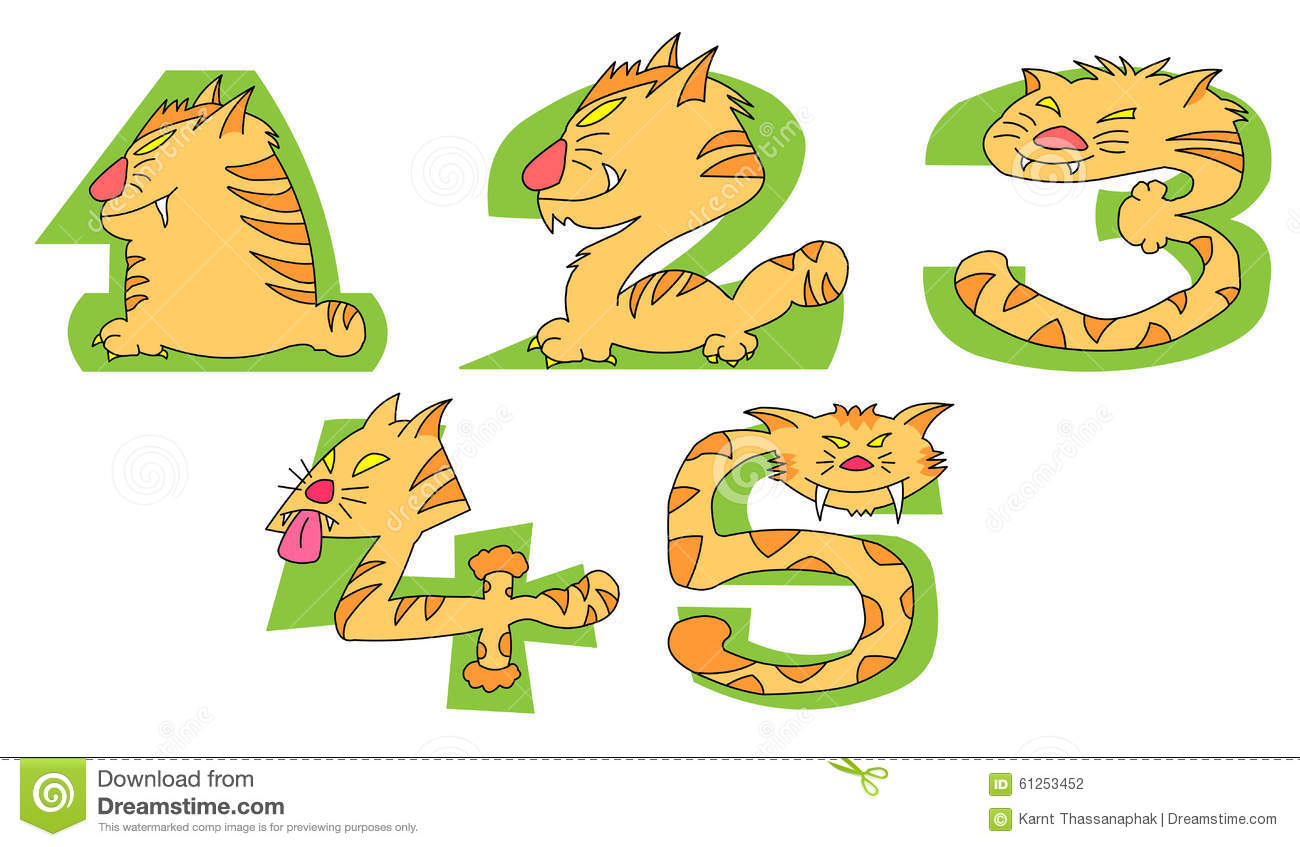 Numbers clipart 1 5 vector transparent download Crazy Cats On Green Numbers: 1 - 5 Set Stock Vector - Image: 61253452 vector transparent download