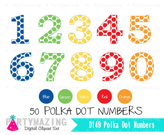 Numbers clipart 1 5 clipart library download Polka Dot Numbers Clipart - Clipart Kid clipart library download